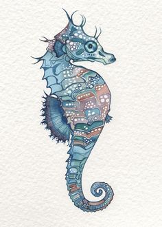 SEAHORSE 5 x 7 Art Print of detailed under the sea theme
