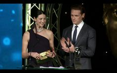 "laird-brochtuarach: "" ""Sam Heughan and Caitriona Balfe Presenting at the BAFTA Scotland 2016 Awards. "" """