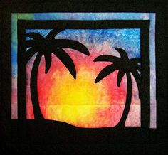 """For Quilts Sake - """"Tropical Sunset"""" Art Quilt Wall Hanging"""
