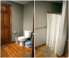 Gray walls and wood trim