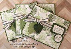 Just Sponge It: Vintage Leaves Sympathy Cards