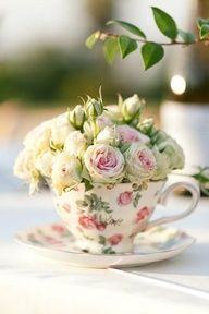 Different cups and saucers on every table. - Time for High Tea! Every tea lover.tea cup adorer and tea pot admirer is going to love this collection of Upcycled Teacup Projects! So pinkies up! Shabby Chic, Deco Floral, Rose Cottage, High Tea, Spring Wedding, Garden Wedding, Floral Arrangements, Flower Arrangement, Wedding Arrangements