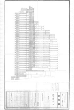 Clásicos de Arquitectura: Torres del Parque / Rogelio Salmona,Elevación Bloque C. © Fundación Rogelio Salmona Technical Drawing, Blinds, Skyscraper, Multi Story Building, Architecture, Home, Decor, Projects, Outer Space