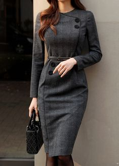 Button Accent Black Trim Slim Fit Dress - Korean Women's Fashion Shopping Mall, Styleonme. Look Fashion, Hijab Fashion, Fashion Dresses, Womens Fashion, Fashion Design, Fashion Clothes, Fashion Boots, Slim Fit Dresses, Dresses For Work