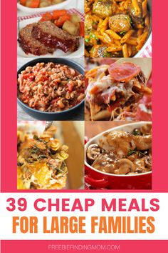 Do you have a big family to feed on a little budget? Then these 39 easy, delicious, and cheap meals for large families are a must try! Here you'll find crockpot recipes, chicken recipes, pasta recipes, recipes with rice, and more frugal yet satisfying meals to keep your family's bellies full. You'll also spot many cheap healthy dinner ideas too. Head on over and find your favorites! #cheapdinnersforafamily #cheaphealthymeals #budgetmealplanning #budgetmeals Large Family Meals, Large Families, Big Family, Cheap Healthy Dinners, Cheap Meals, Healthy Foods To Eat, Easy Dinner Recipes, Pasta Recipes, Dinner Ideas