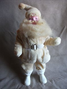 Rare Vintage 1950s Harold Gale Santa Clause Doll in a White Suit