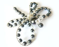Black Pearl Sterling Dragonfly Hair Clip by GemstoneDragonflies,