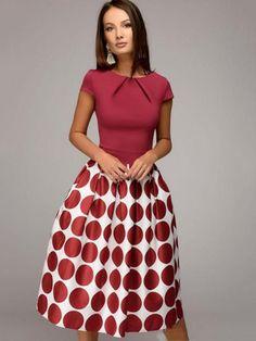 Red Cap Sleeve Polka Dots Women's Day Dress