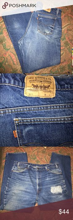 Vintage orange tan Levi's 42/30 Vintage distressed fade Levi's. size 42 waist 30 inseam. Faded with distressed look. Thick heavy denim. Levi's Jeans Relaxed