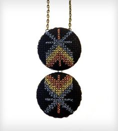 Cross-Stitched Double Pendant Necklace - Metallic Chevron by Zelma Rose on Scoutmob Shoppe