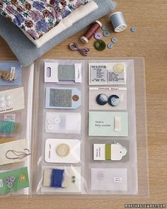 Create a Clothing Fix-It Kit: Fill a simple business-card organizer (from an office-supply store) with spare buttons, thread samples, cloth tags, and even those scratchy fabric-care labels you snip off garments. From Martha Stewart Organisation Hacks, Life Organization, Organizing Tips, Organising, Organizing Solutions, Thread Organization, Thread Storage, Simple Business Cards, Business Card Holders