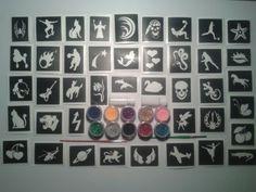 Molto insieme x 40 tatuaggio tatuaggi scintillio / corpo stencil art 10 colori di scintillio