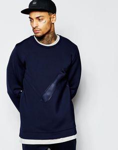 Image 1 ofASOS Oversized Scuba Sweatshirt With Embossed Panel