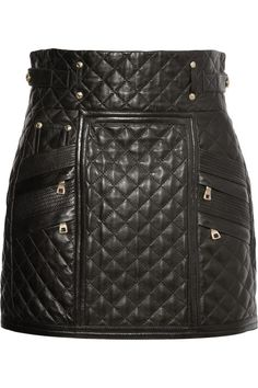 Balmain, quilted leather mini skirt | The House of Beccaria