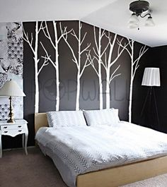 Painting birch wood trees on a wall seems very easy covering it up when it's not cool anymore ... not so easy lol