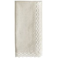 Made of cotton and linen, this simple homespun napkin interweaves a soft natural-color warp with white filling yarns for a denim-like appearance. Then we added white cotton lace trim and what do you know? Miss Plain Jane cleans up right purdy. (And it's washable, so literally.)