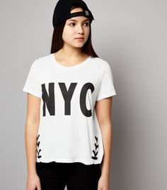 Teens White NYC Lace Up Hem T-Shirt