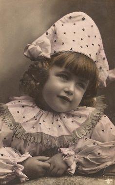 Pierrot Little Princess, Belle Epoque French Baby Girl in Romantic Clown Costume Sweet Fancy Original 1900s Postcard Used 1907 in Bordeaux