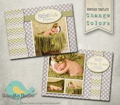 Baby Birth Announcement Templates  Baby Girl by SugarfliesDesigns, $8.00