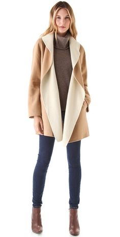 Joie Teyona Coat FREE SHIPPING at shopbop.com. Draped lapels reveal the contrast interior on an open jacket in thick, soft felt. Pockets hide along the sides, and a removable self-belt ties at the waist.