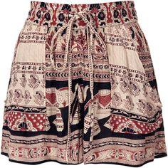 TOPSHOP Elephant Print Shorts by Band of Gypsies (392.850 IDR) ❤ liked on Polyvore featuring shorts, skirts, bottoms, saias, multi dark, topshop shorts, elephant print shorts and rayon shorts