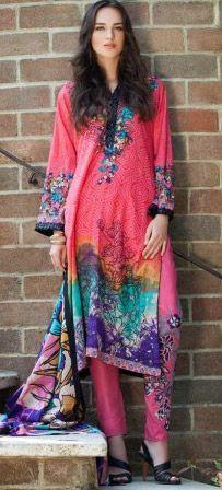 Shocking Pink Cotton Lawn Salwar Kameez Dress $49.99 DESIGNER LAWN 2014 Pakistani Indian Dresses Online, Men Women Clothing and Shoes | PakRobe.com