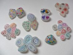 Doodles & patterns - Hand painted sea glass - Original acrylic miniature art