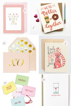 Seasonal Stationery: Valentine's Day, Part 1 | 7. Mr. Boddington's Studio; 8. Little Low Studio; 9. Hello! Lucky ; 10. Paper Lovely; 11. Thimblepress; 12. Sugar Paper | Click through for full links and resources!