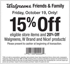 Walgreens Friends and Family Discount- Friday only