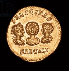 "Roman Coin, Julia Domna with Sons Geta and Caracalla, c 210 AD. ""Felicitas Saeculi"" - ""Age of Good Fortune""."