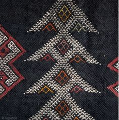 Africa | Detail from a Beni M'Guild wall tent kilim. Middle Atlas Mountains. Morocco |  Circa 1930