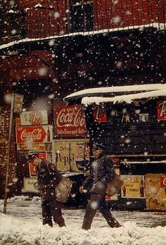 Postmen, 1952 by Saul Leiter . .I HOPE YOU'LL FOLLOW ANY OF MY 5 GREAT BOARDS CONCERNING THE POST OFFICE MAILMEN VEHICLES MAILBOXES AND OTHER THINGS