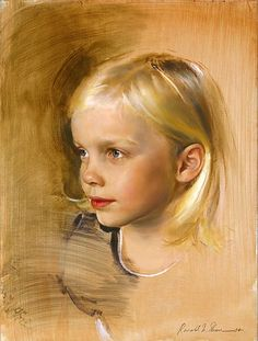 """""""Lilah"""" Brown - Ronald N. Sherr, oil on panel, 2004 {contemporary figurative art female girl head cute blonde young child face portrait painting} Innocence ! Portraits Pastel, Watercolor Portraits, Drawing Portraits, Figure Painting, Painting & Drawing, Oil Portrait, Paintings I Love, Pastel Art, Figurative Art"""