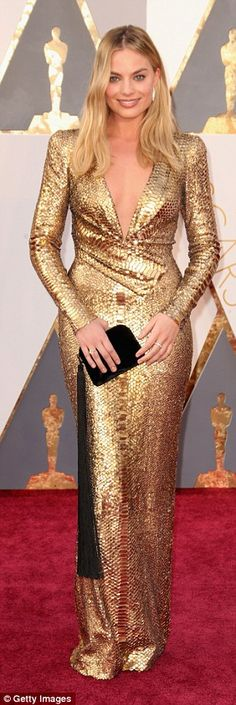 Statuesque: As she made her way down the red carpet, she certainly had heads turning...