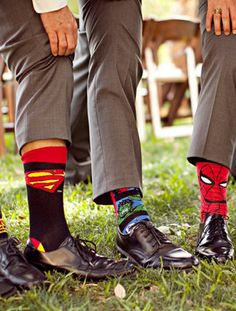 The guys jazzed up their gray suits with superhero socks--a gift from the groom. -- I totally want superhero something in my wedding. Groom And Groomsmen, Super Hero Groomsmen, Groomsmen Socks, Groom Socks, Wedding Groom, Wedding Pics, Wedding Attire, Wedding Bells, Wedding Engagement