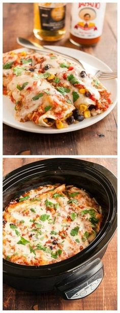 Slow Cooker Vegetarian Black Bean Enchiladas Recipe from The Kitchn [Featured on http://SlowCookerFromScratch.com]