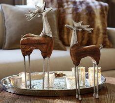 Wood and Metal Reindeer | Pottery Barn