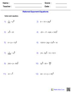 Rational Exponent Equations Worksheets