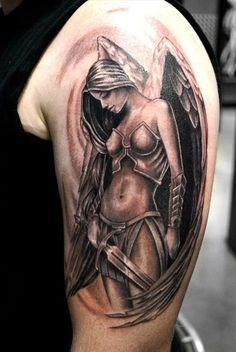 Angel tattoo on men's shoulder samoan tattoo, tattoo sites, original tattoos, tattoo websites Angel Warrior Tattoo, Guardian Angel Tattoo, Warrior Tattoos, Viking Tattoos, Angel Tattoo Men, Guardian Angels, Fallen Angel Tattoo, Celtic Tattoos, Tattoo Symbols