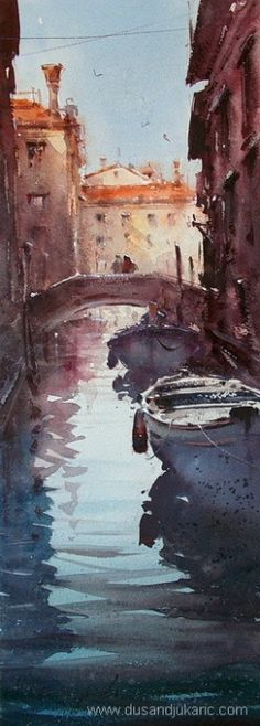 Dusan Djukaric ~ Small Canale in Venice