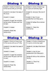 English worksheet: Cued dialogs to practice INVITING PEOPLE and REFUSING/ACCEPTING INVITATIONS! | Making suggestions | Teaching english, Worksheets, English ...