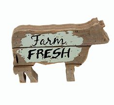 Parisloft Farm Fresh Wood Cow Shaped Sign Tabletop Decor, Carved Cow Statue Home Decor, Animal Sculpture Decorations ... Barnyard Party, Farm Party, Teacher Party, Barn Parties, Farm Birthday, Animal Sculptures, Tabletop, Cow, Carving