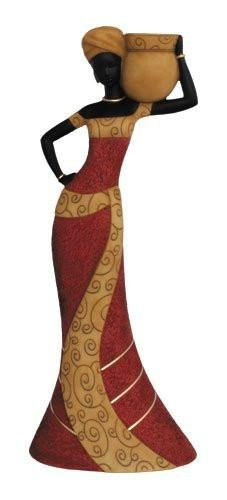 African Woman (Red): Essence of Africa Taper Candlestick Holder | The Black Art Depot