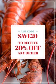 Eat like you work here! 💪 Order any item online anytime of the day from July 29 to August 2 and receive ultimate savings during our Employee Pricing Event. Use the coupon code SAVE20 to receive 20% off any order. #LobsterGram #EmployeePricingEvent Lobster Gram, Giant Lobster, Live Maine Lobster, Fresh Lobster, Lobster Tails, Seafood Dinner, Coupon, Eat, Coupons