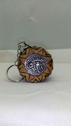 Handmade Elephant Coconut Shell Pocket Portable Key Case/Coin Purse/Key Chains…