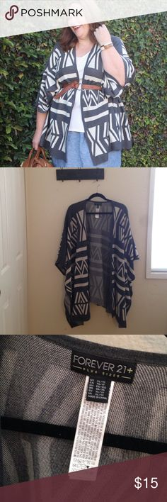 Printed Poncho Printed Poncho. Size XL/1X. A knit sweater feel. In great used condition. Belt from cover shot not included. Forever 21 Sweaters Shrugs & Ponchos