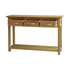Canberra solid oak furniture three drawer console hallway hall table | eBay