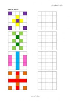 Werkbladen - ruimtelijke orientatie - nakleuren ~ Juf Milou Dyslexia Activities, Montessori Activities, Educational Activities, Preschool Activities, Coding Classes For Kids, Visual Perception Activities, Math Patterns, Busy Boxes, Math For Kids