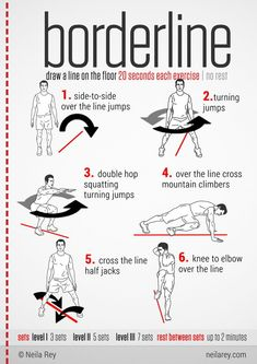 Borderline draw a line on the floor - 20 seconds each excercise