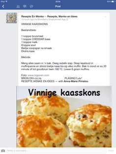 Vinnige kaasskons Kos, Braai Recipes, Savory Snacks, Savory Muffins, South African Recipes, Savoury Baking, Light Recipes, Other Recipes, Baking Recipes